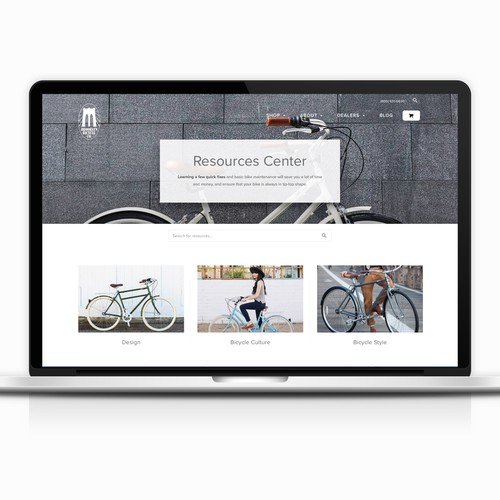 Resource page for lifestyle brand