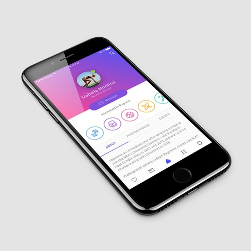 UI design for a sports social app