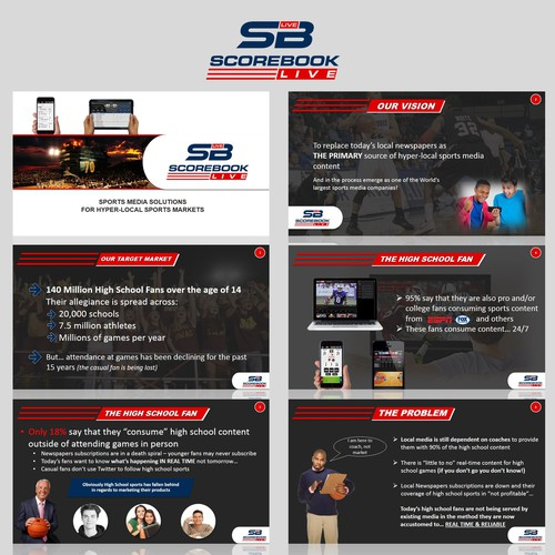 Create an investor presentation for a sports media and technology company