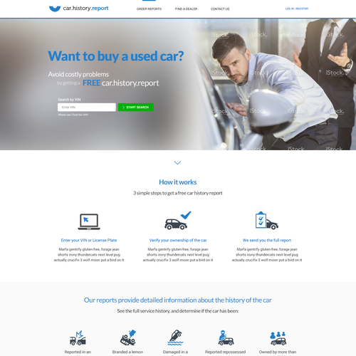 Webdesign for car history report website