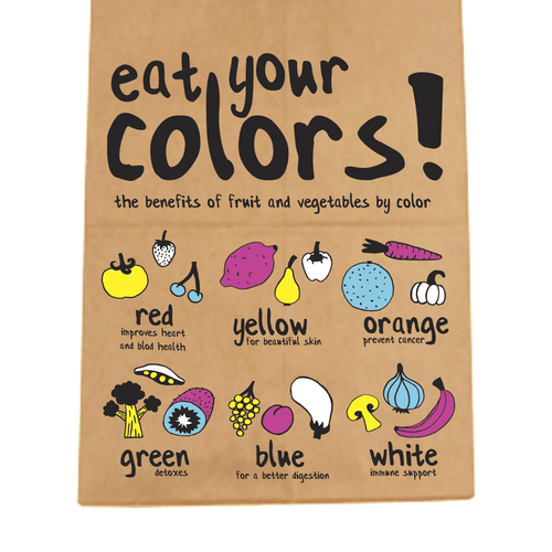 Create a modern and fun design for paper bags for fruit and vegetables!