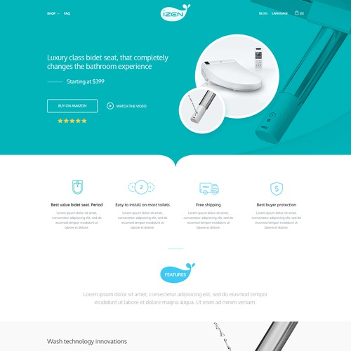 Hhome page for a renowned smart bidet seat brand