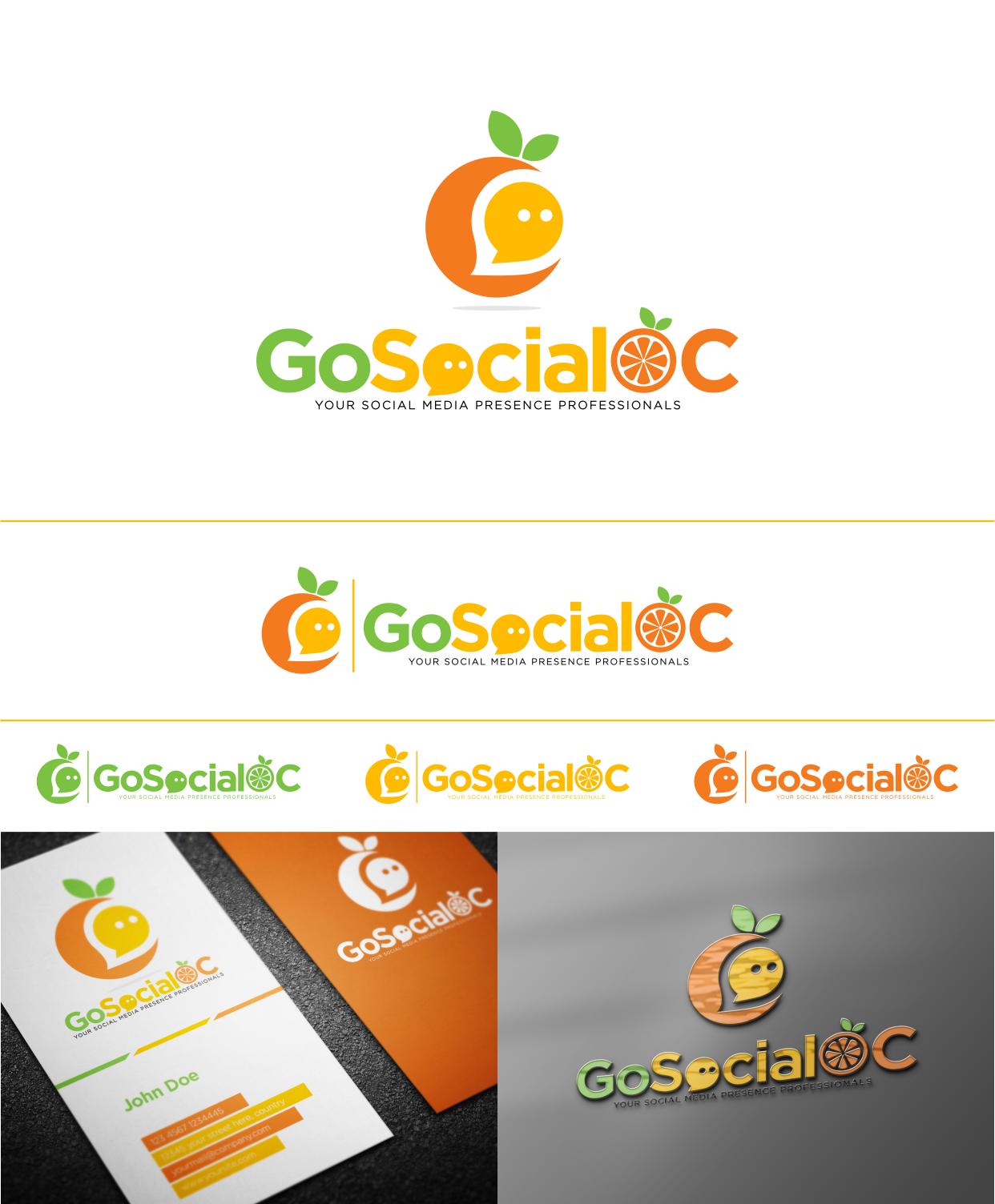 Create a winning logo for GoSocialOC a social media management marketing agency in Orange County, Ca