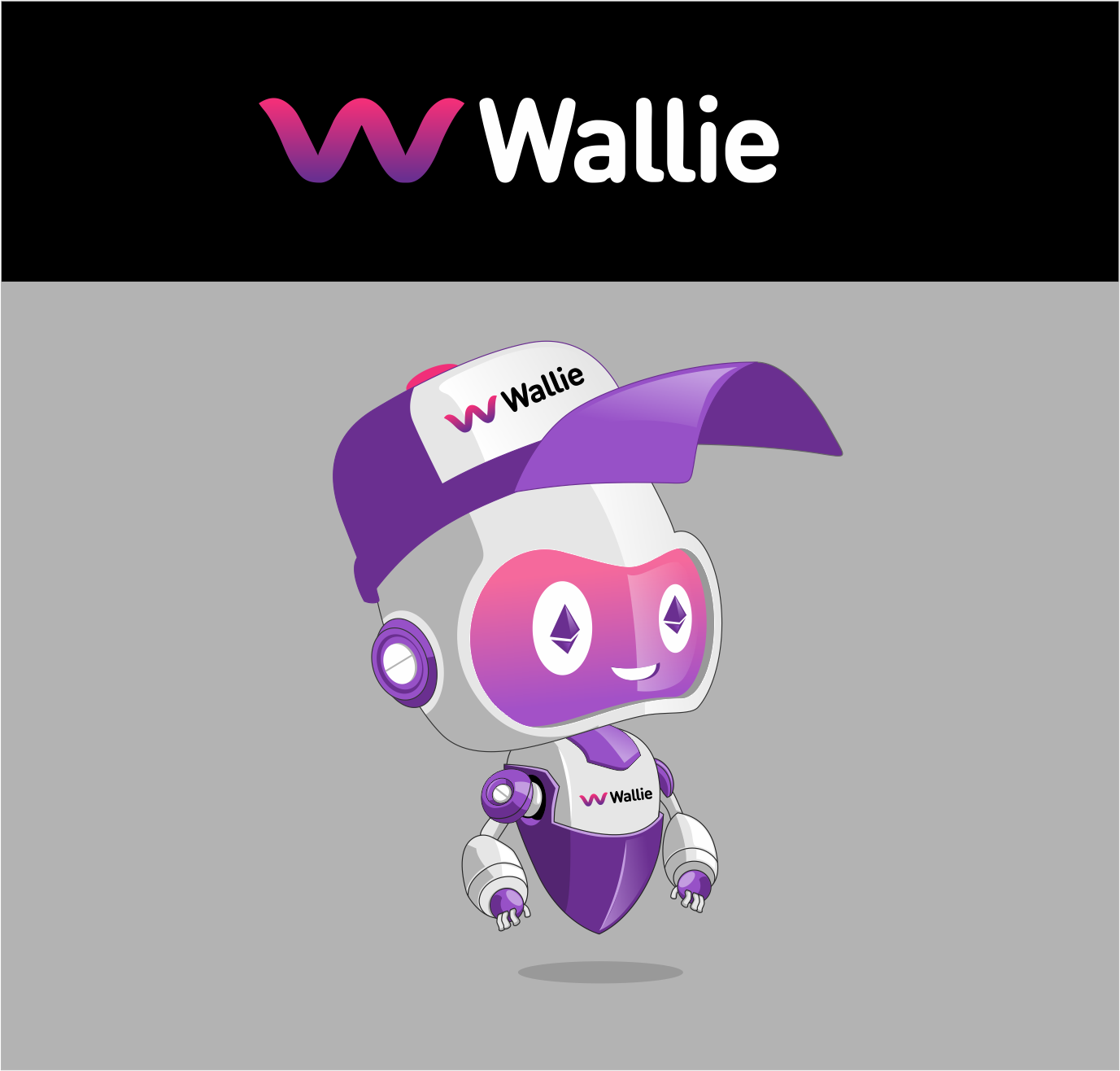 Create a robot character illustration for Wallie.me