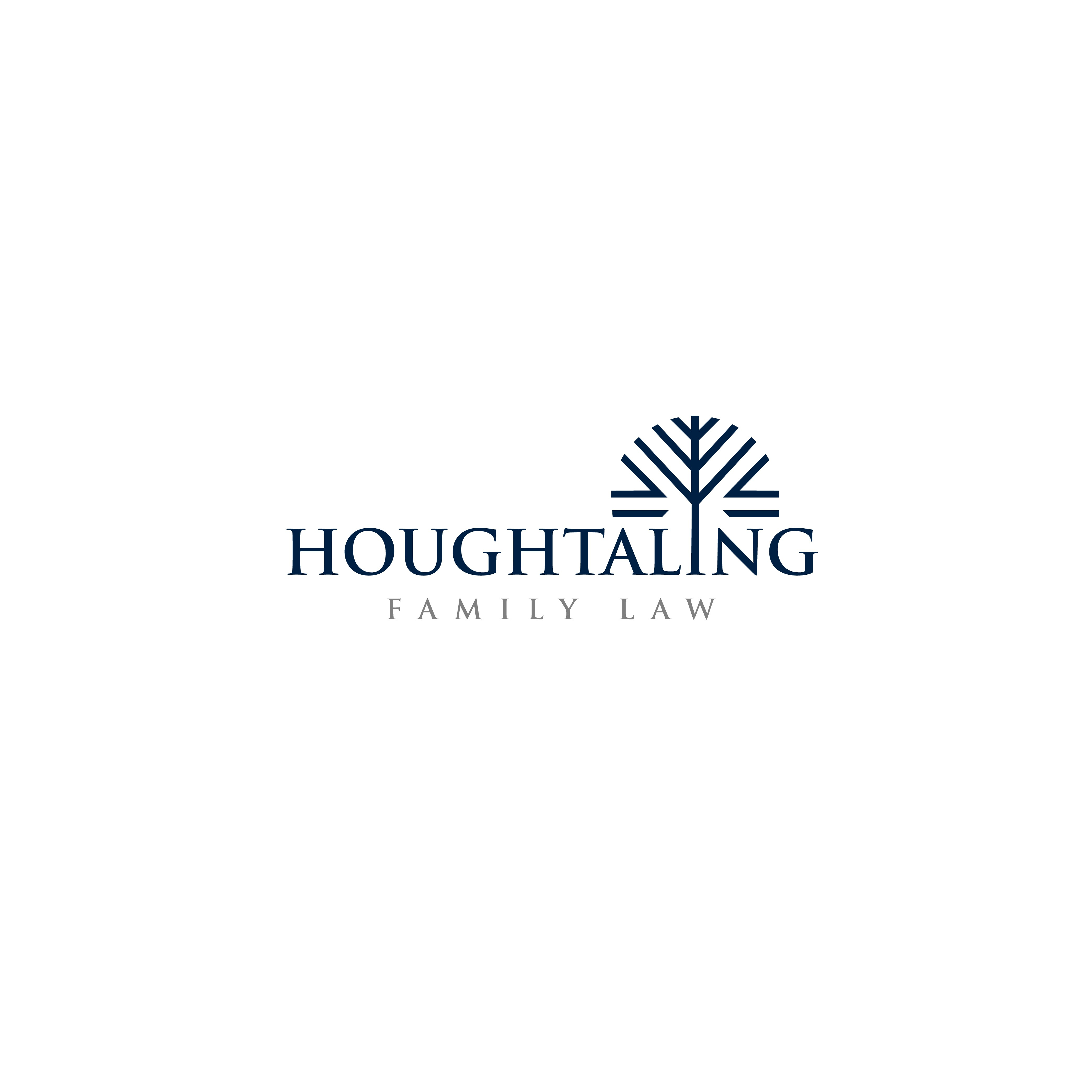 Design a strong creative law firm logo for Houghtaling Family Law with tree concept.