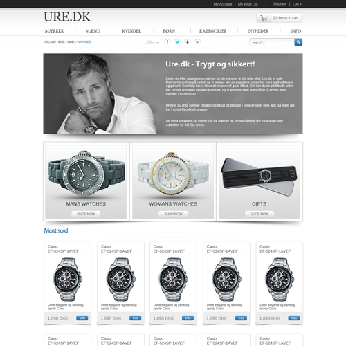 Website design for Ure.dk