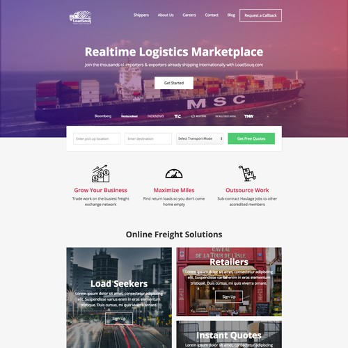 Stunning Homepage Design for Freight Marketplace