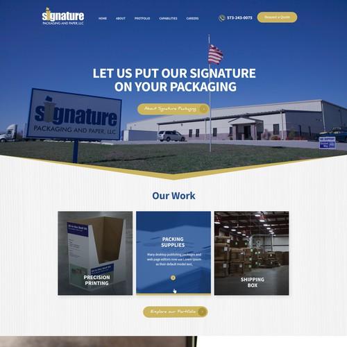 Cardboard Packaging Website Homepage