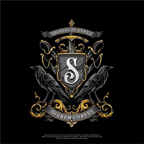 Coat of arms / crest crow raven logo design
