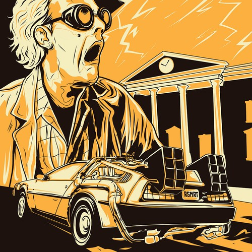 """Back to the Future"" in modern flat graphical illustration"