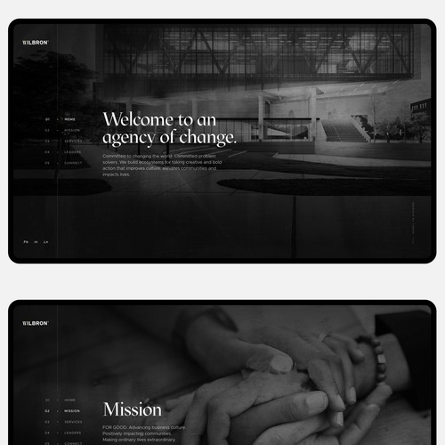 Dark themed web design