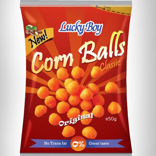 Create a lasting pack design for corn puffs