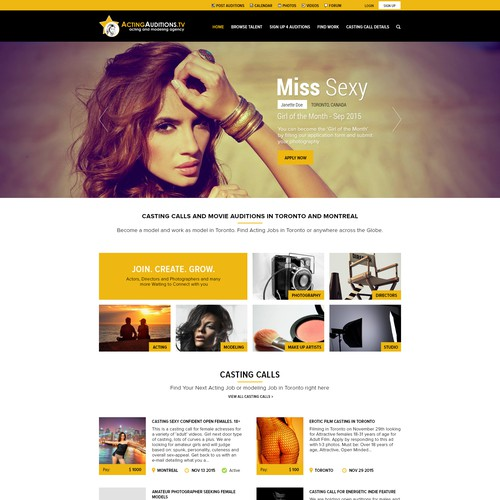 Entertainment webdesign