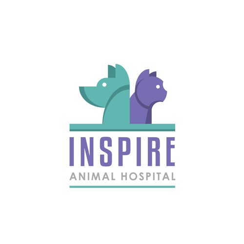 Logo concept for dog and cat animal hospital