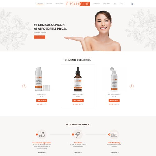 Skincare Club Homepage