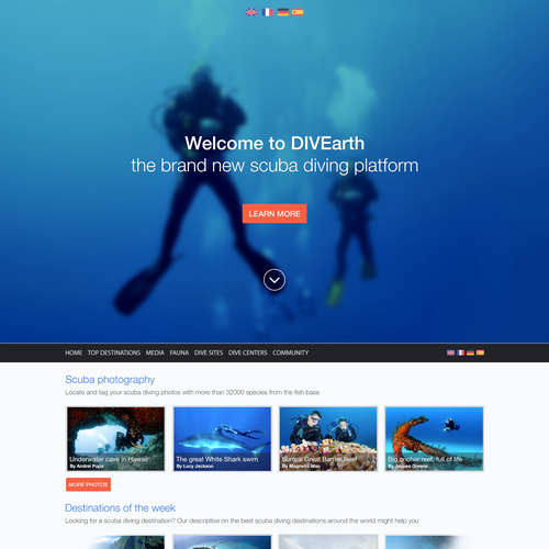 Redesign part of a homepage for SCUBA DIVING community website
