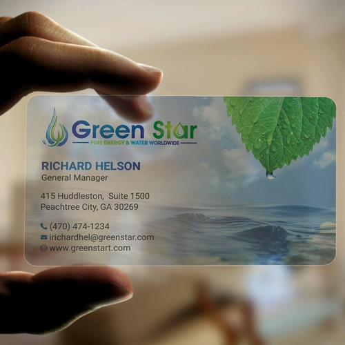 CLEAR PLASTIC business card with ocean waves!