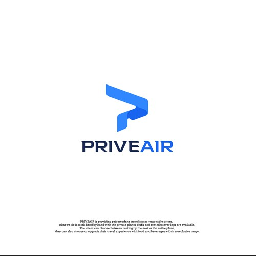 P wordmark for a pivate jet chartering.