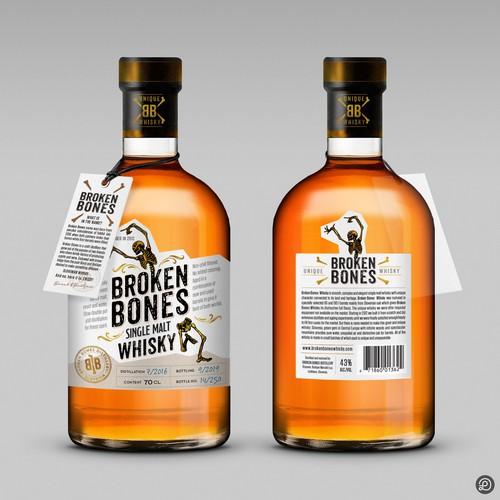 Broken Bones whisky label