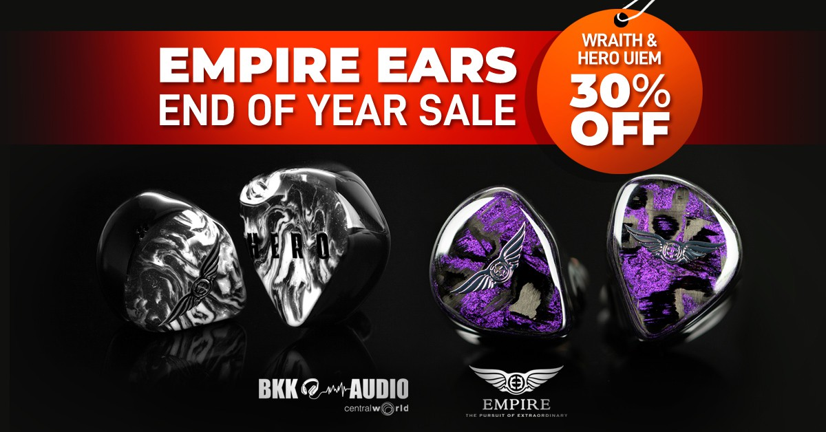Banners ads for Empire Ears End of Year sale Wraith and Hero UIEM discount 30% Off