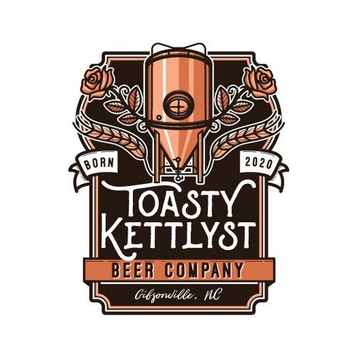 Historical brewery logo with roses and copper kettle