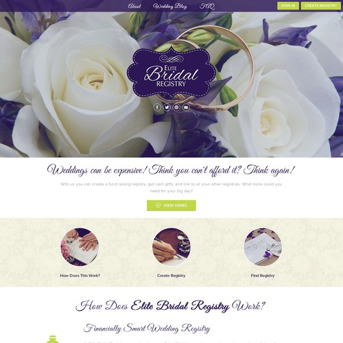 Create a beautiful and elegant site for Elite Bridal Registry
