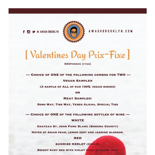 Valentines Day Restaurant Menu