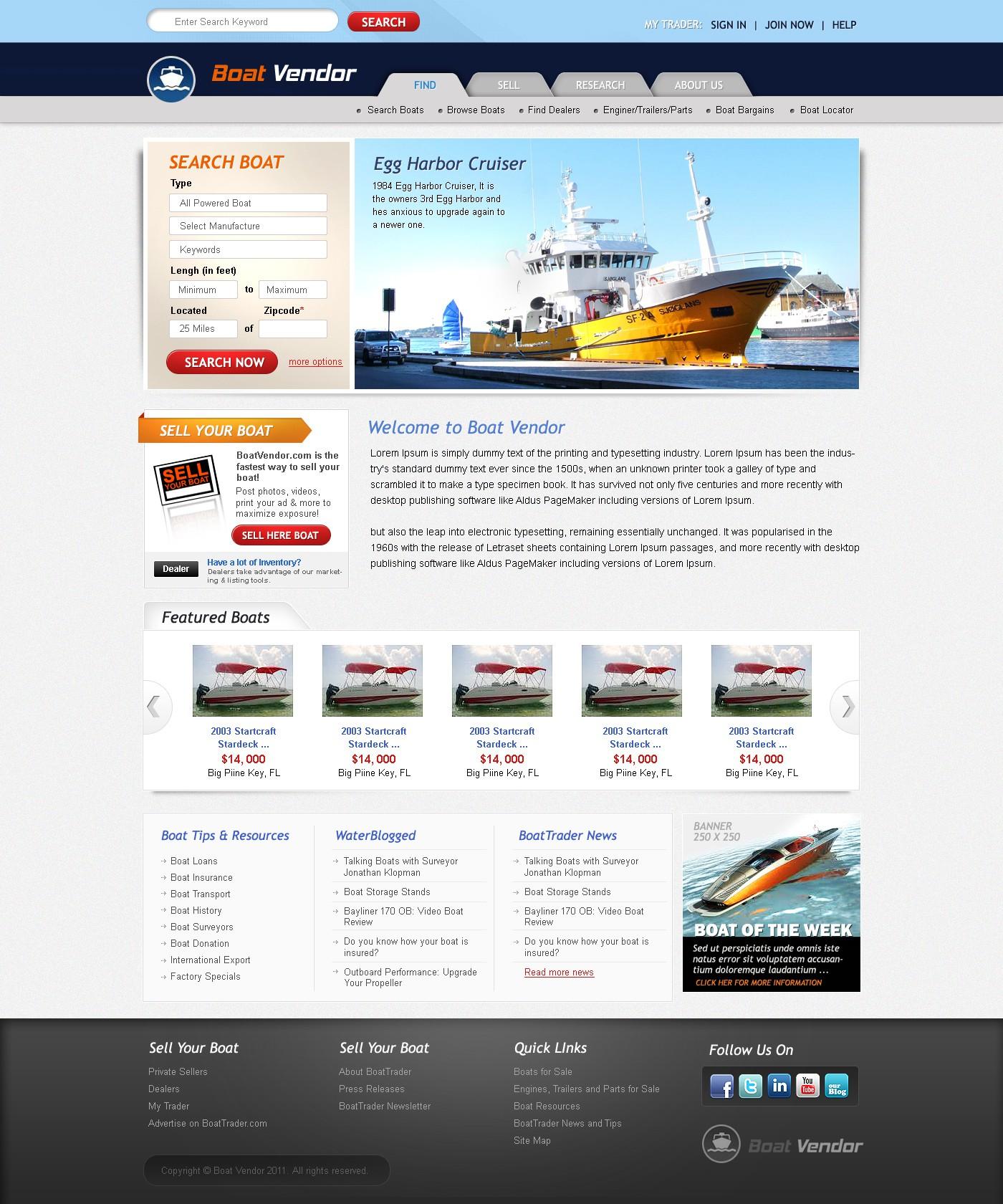 website design for Boat Vendor