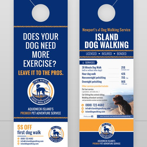 Door hanger for dog walking service