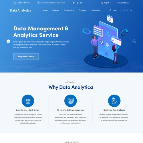 Home Page concept for Data Analytica