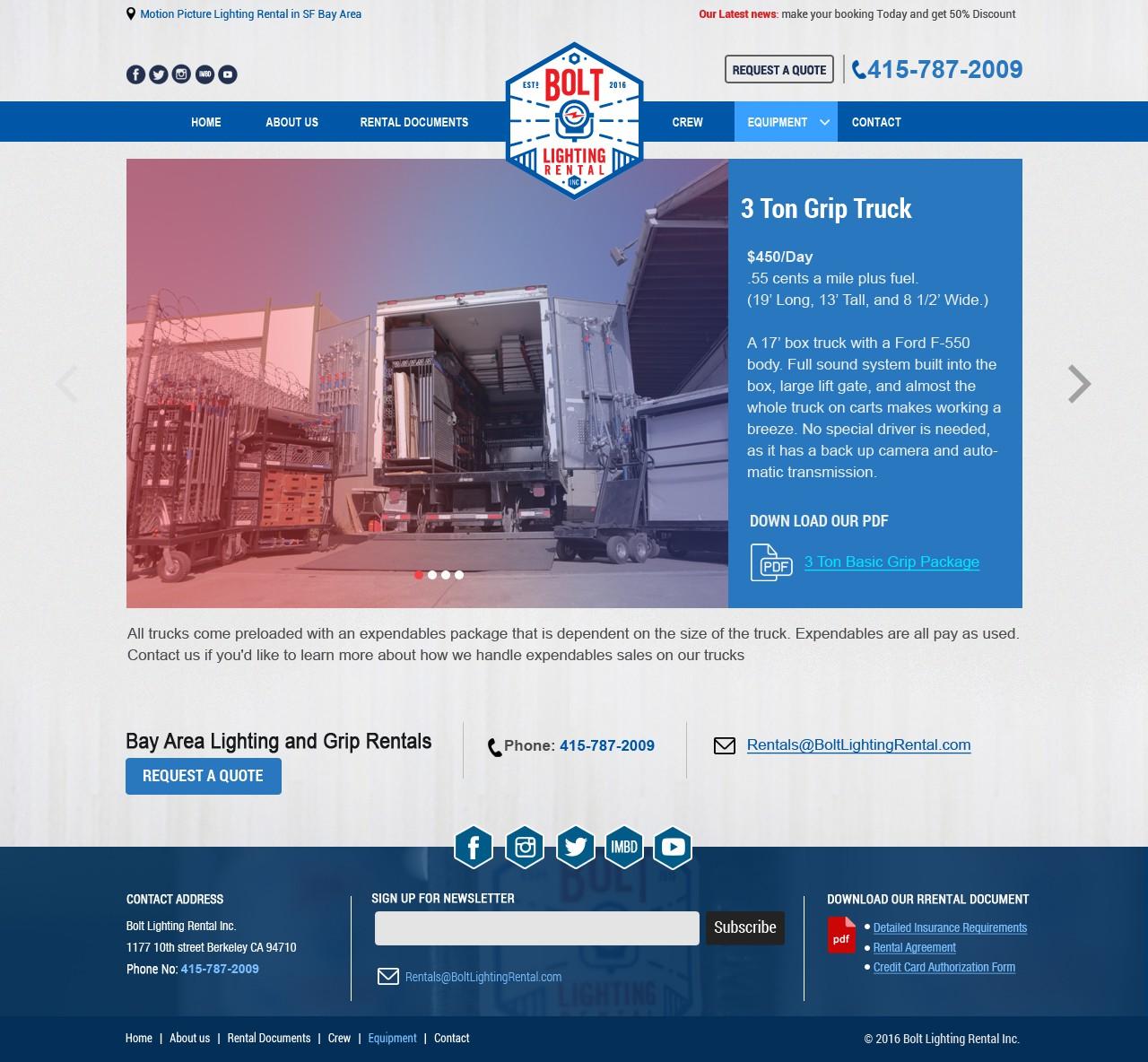 Retro themed Website Needed for Bolt Lighting Rental