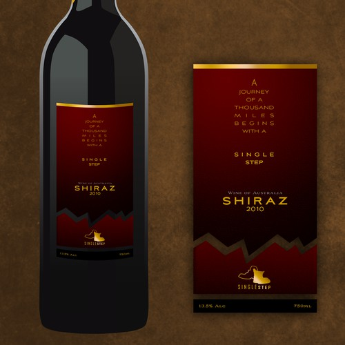"""""""Single Step"""" wine label - get your boots on & join us! Every great journey starts with a single step."""