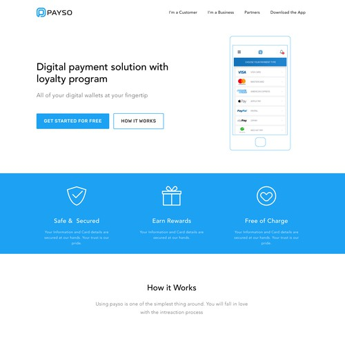 Website for PAYSO Digital Payment