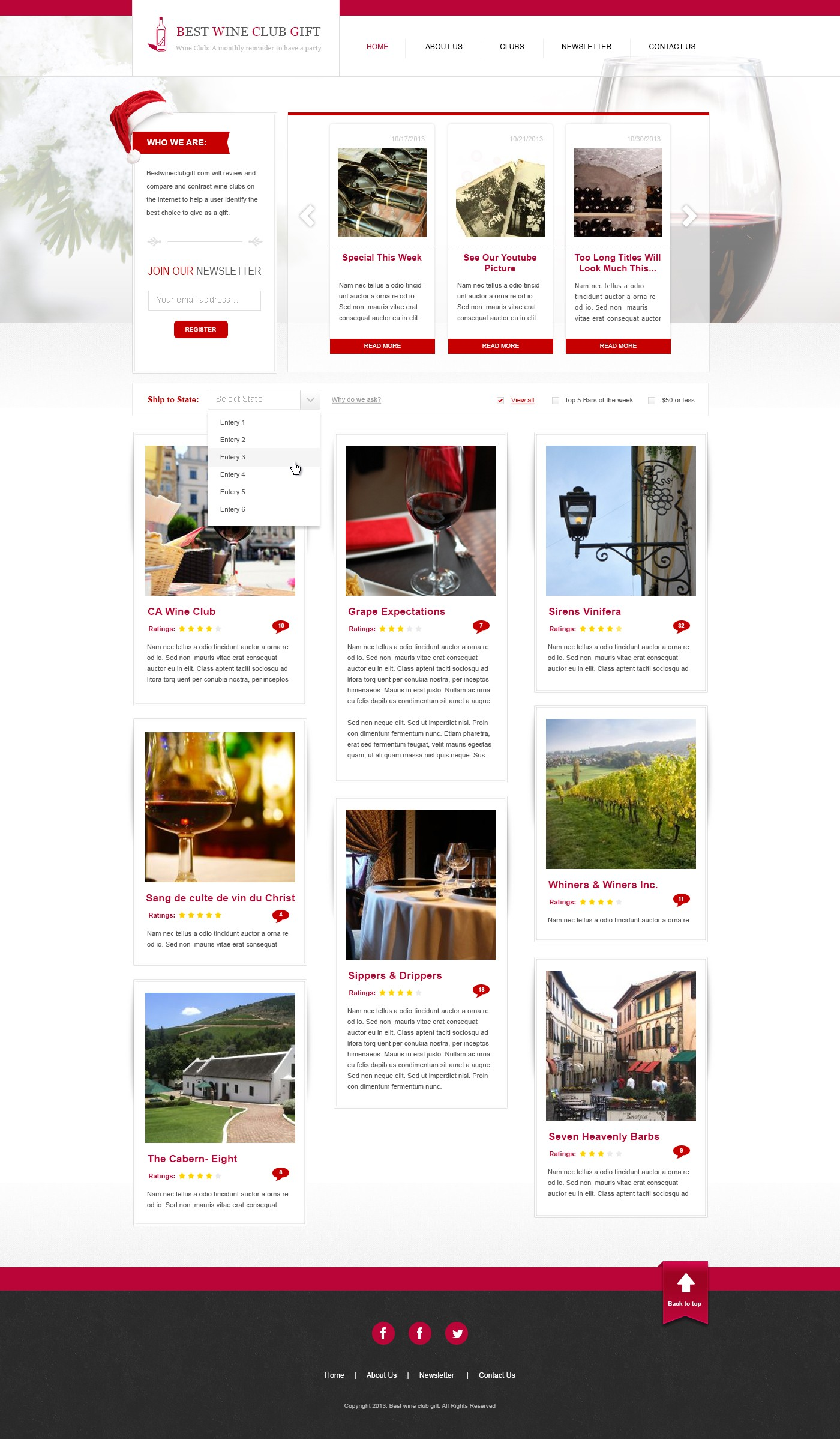 Festive Wine-Oriented Home Page Needed