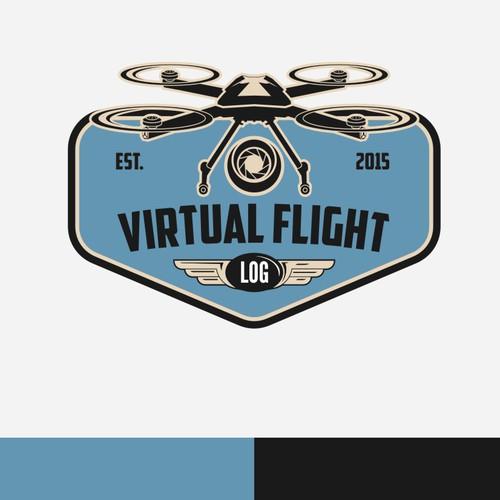 modern drone in vintage logo