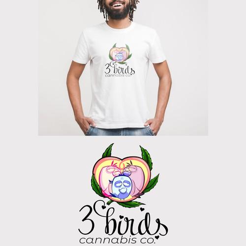 logo concept for 3 birds cannabis co.
