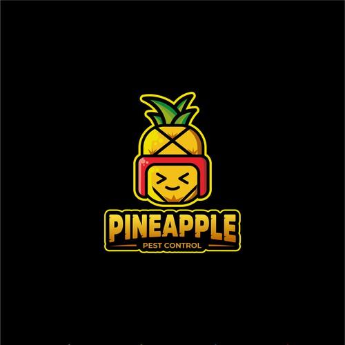 pineaple pets control logo concept