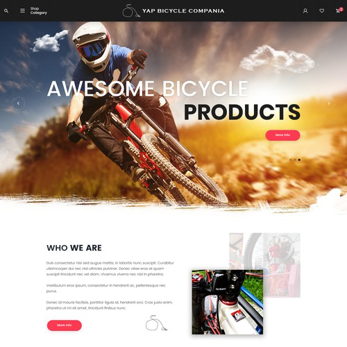 Homepage design for Yap Bicycle Compania