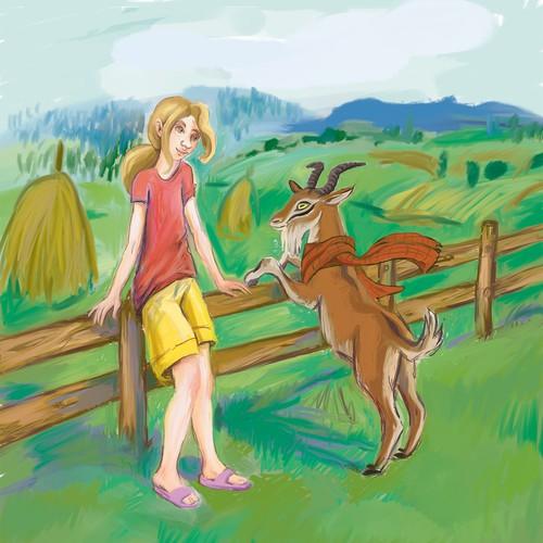 Angus the goat, children book illustration