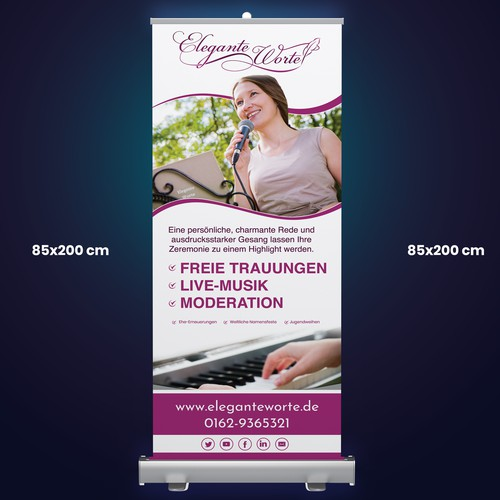 Elegante Worte Roll Up Banner