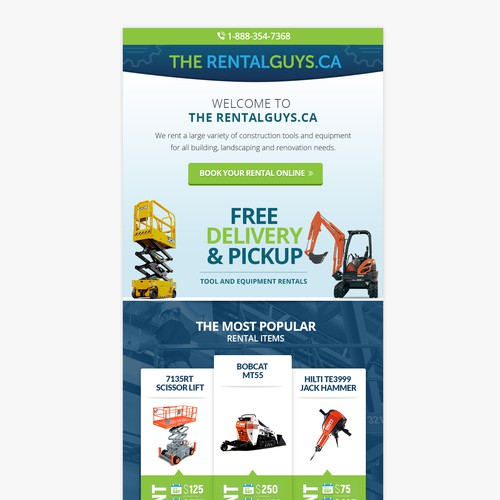 Emailer design for an online equipment rental company