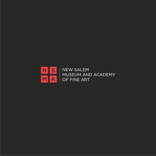 Simple, clean and professional logo concept for New Salem Museum and Academy of Fine Art.