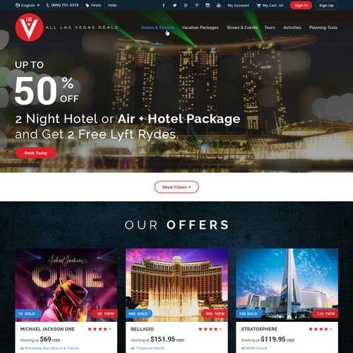 Modern Design for Las Vegas Travel Industry Website