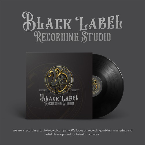 classic masculine logo for Black Label Recording Studio
