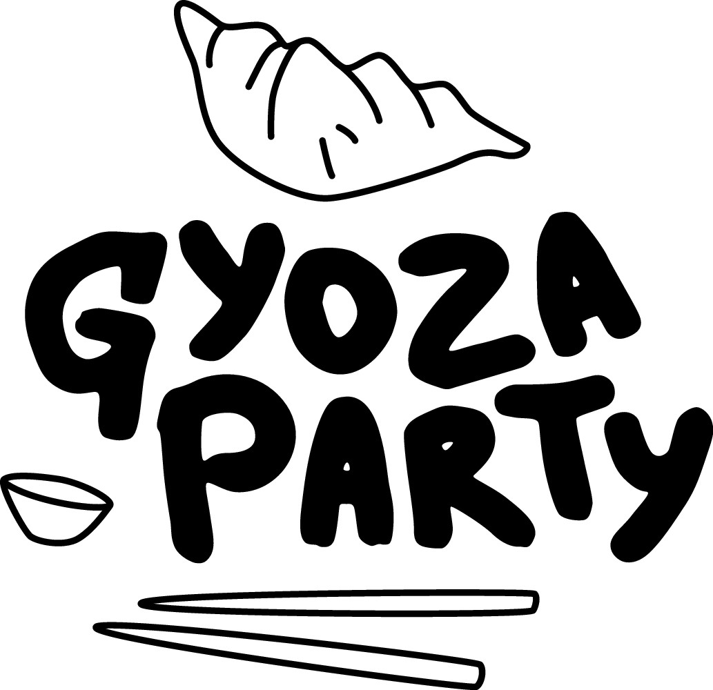 "Food brand : ""Gyoza party"" logo - be crazy !"