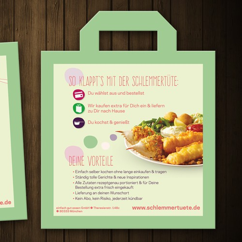 Create a door-opener-flyer for the German food startup Schlemmertüte