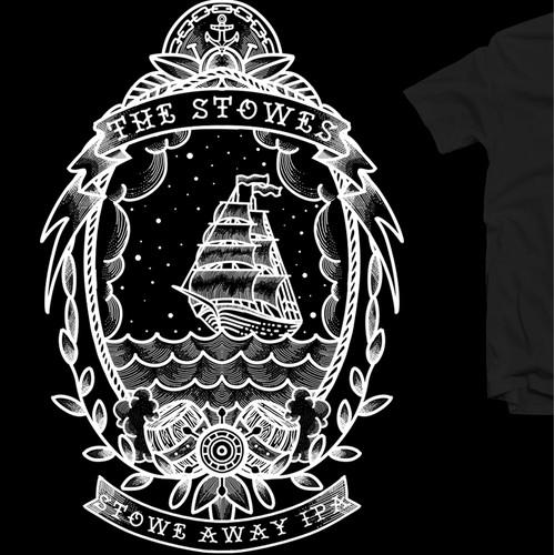 Winner design for Create Sailor Tattoo Inspired T-Shirt design
