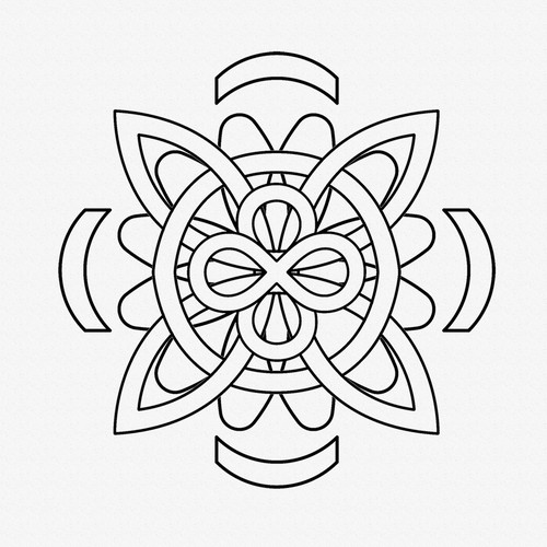 Rose Compass Line Tattoo Black and White