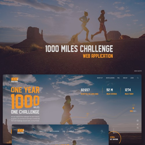 1000 Mile Challenge - Homepage and Landing Page Design