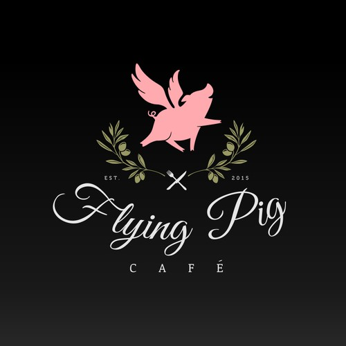 Whimsical and upscale logo for Flying Pig Cafe